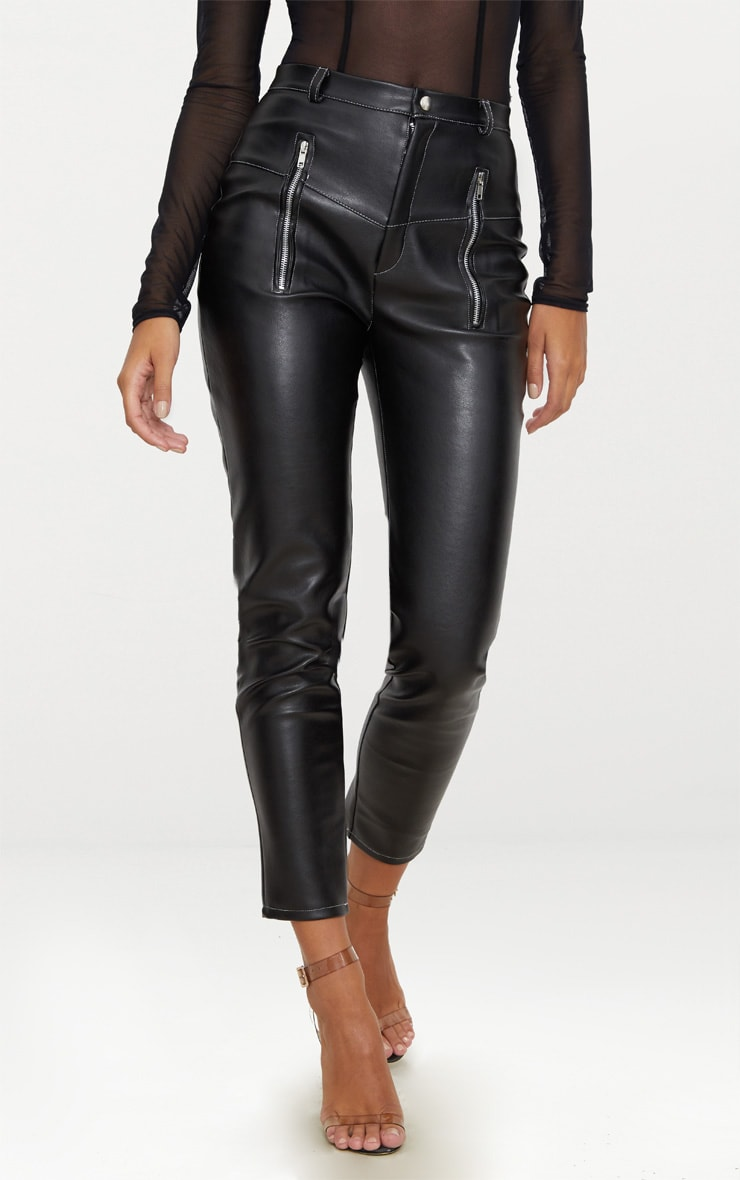 Black Faux Leather Contrast Stitch Pants 2
