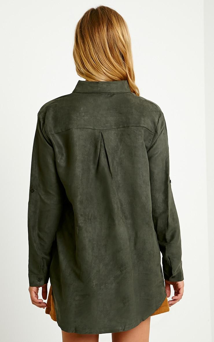 Blithe Khaki Faux Suede Oversized Shirt 2