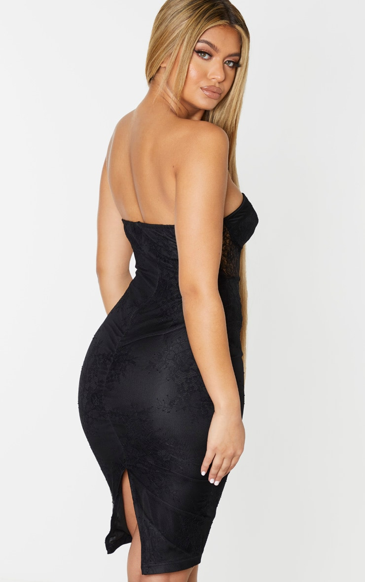 Black Lace Bandeau Velvet Insert Midi Dress 2