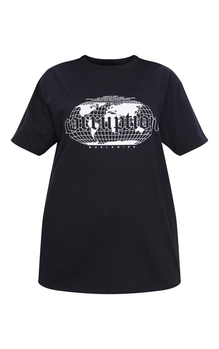 Black Corruption Slogan Oversized T Shirt 5