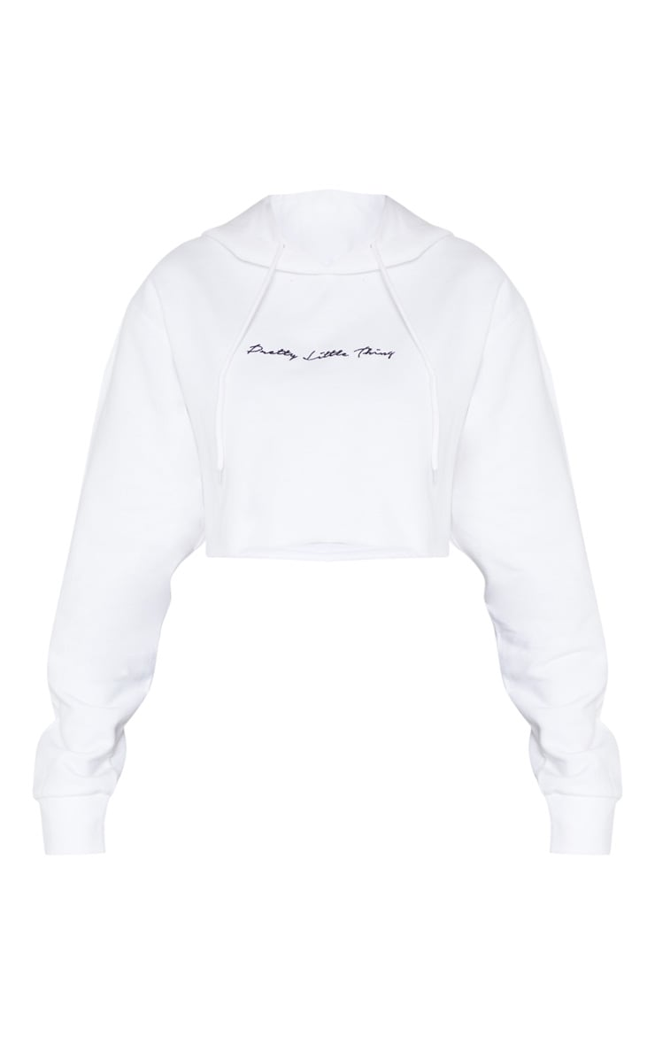 PRETTYLITTLETHING Tall White Embroidered Crop Hoodie  3