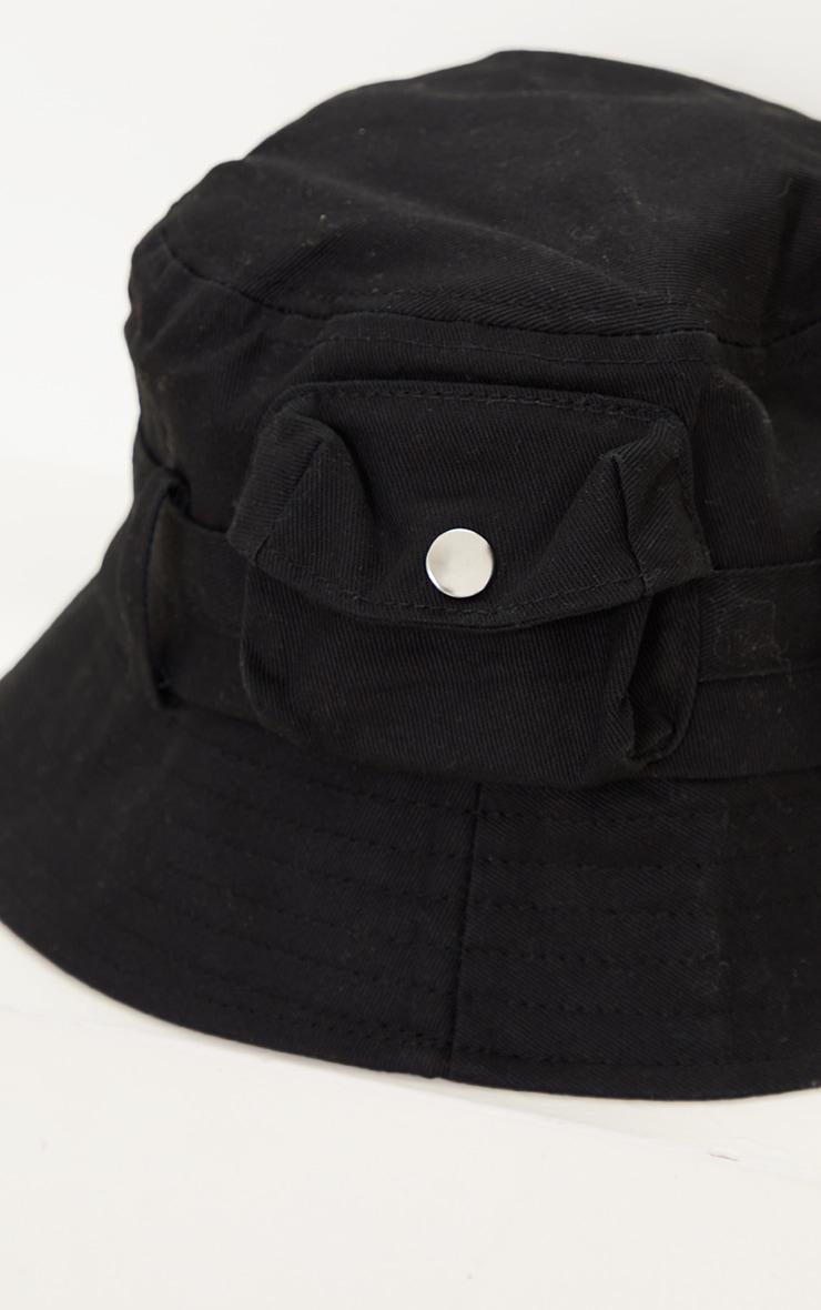Black Pocket Detail Bucket Hat 3
