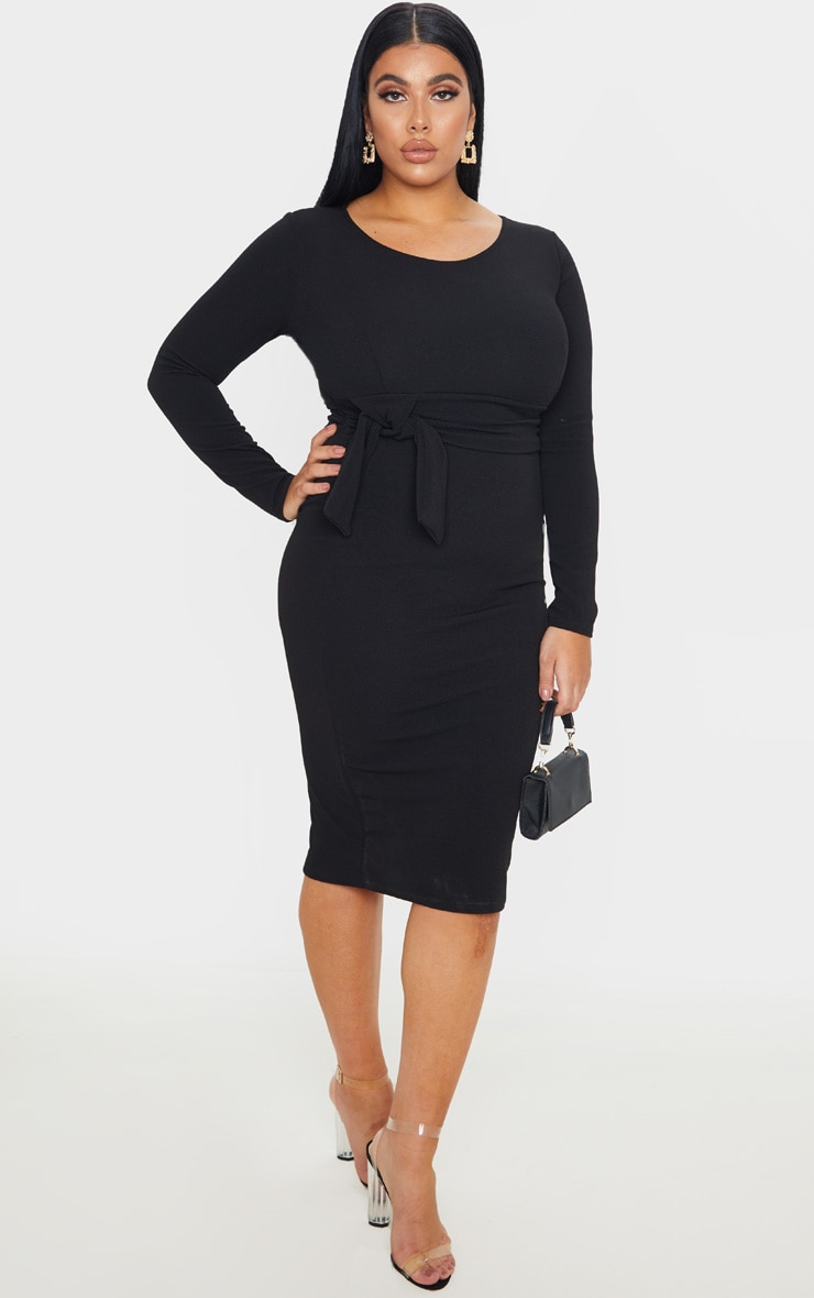 Plus Black Long Sleeve Wrap Waist Midi Dress 3