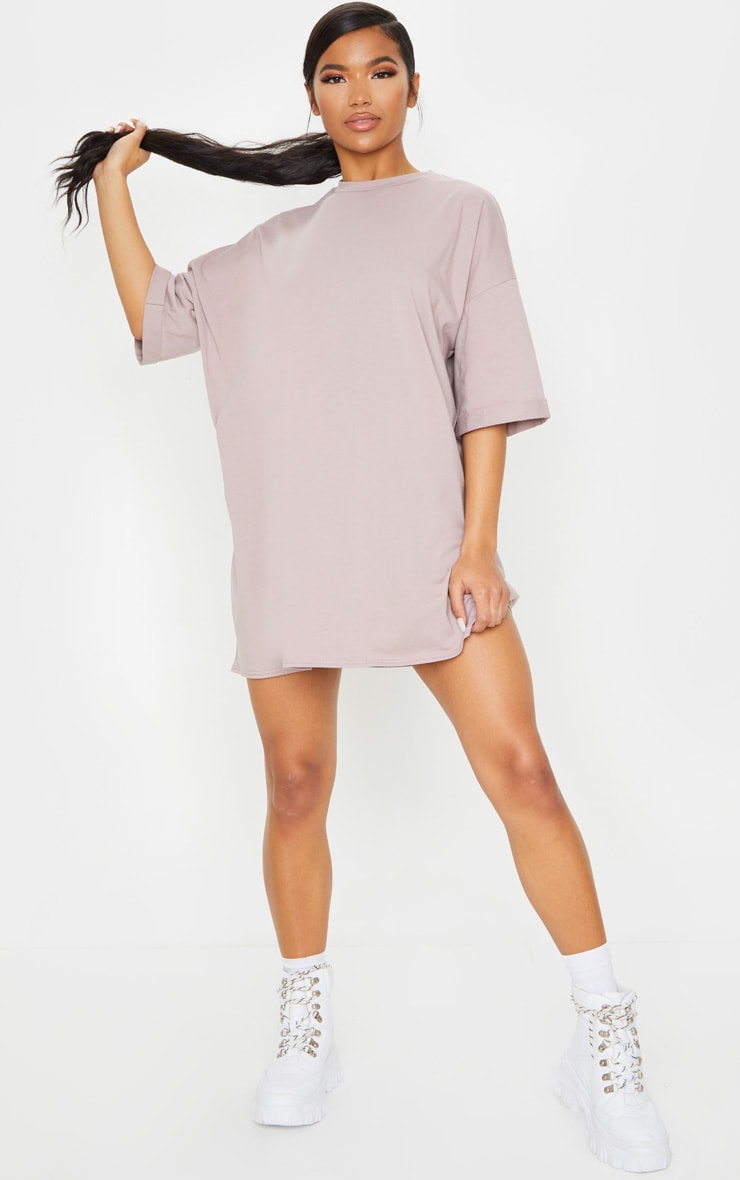 Mauve Oversized Boyfriend T Shirt Dress 3