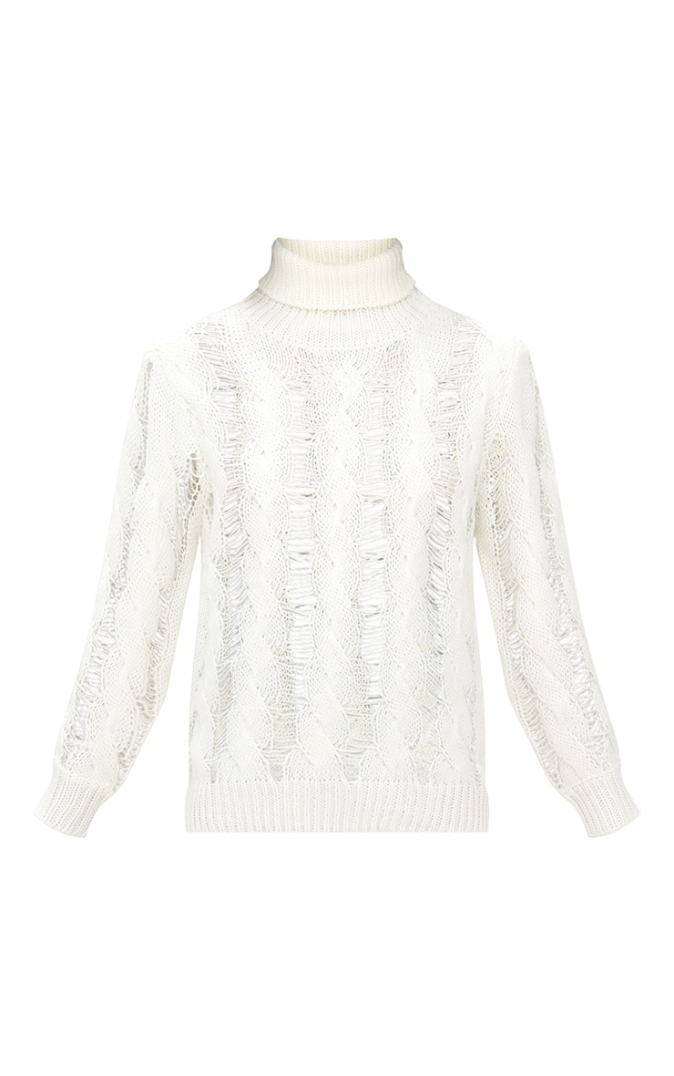 Cream Roll Neck Distressed Knitted Jumper  3