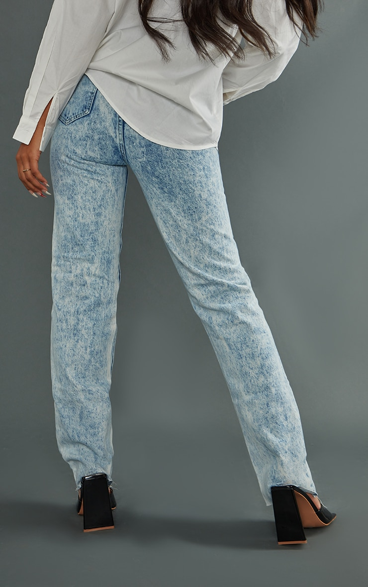 PRETTYLITTLETHING Acid Wash Ripped Long Leg Straight Jeans 3