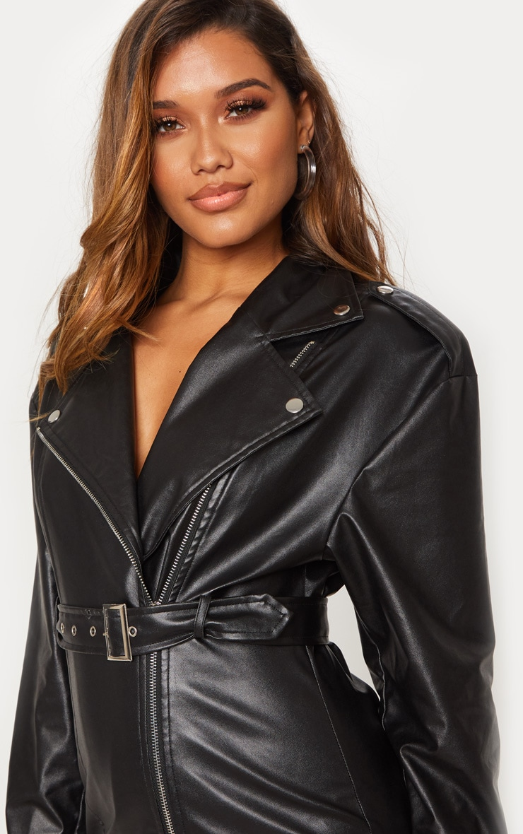 Black Faux Leather Biker Bodycon Dress 5