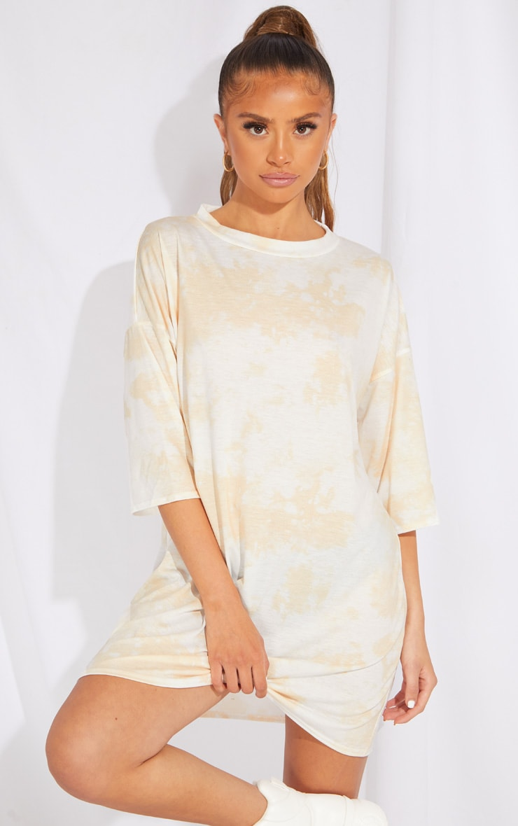 Petite Sand Tie Dye Oversized Boyfriend T Shirt Dress 1