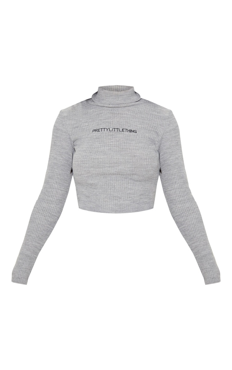 PRETTYLITTLETHING Grey Ribbed Sweater 3