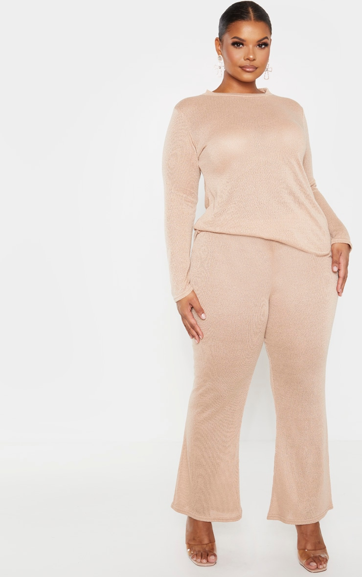 Plus Stone Textured Wide Leg Trousers 1