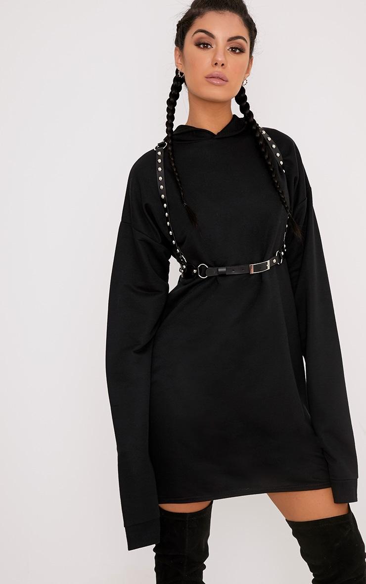 Elizabella Black Extreme Long Sleeved Hoodie Sweater Dress