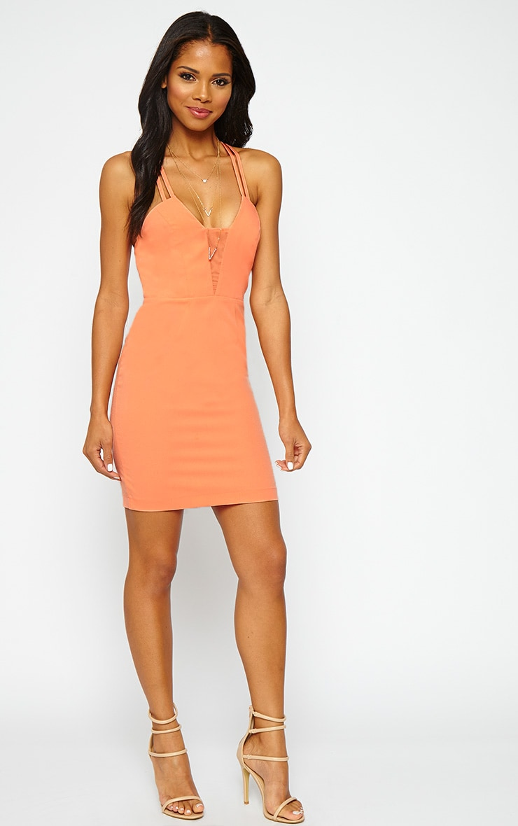 Ellis Peach Double Strap Dress 3
