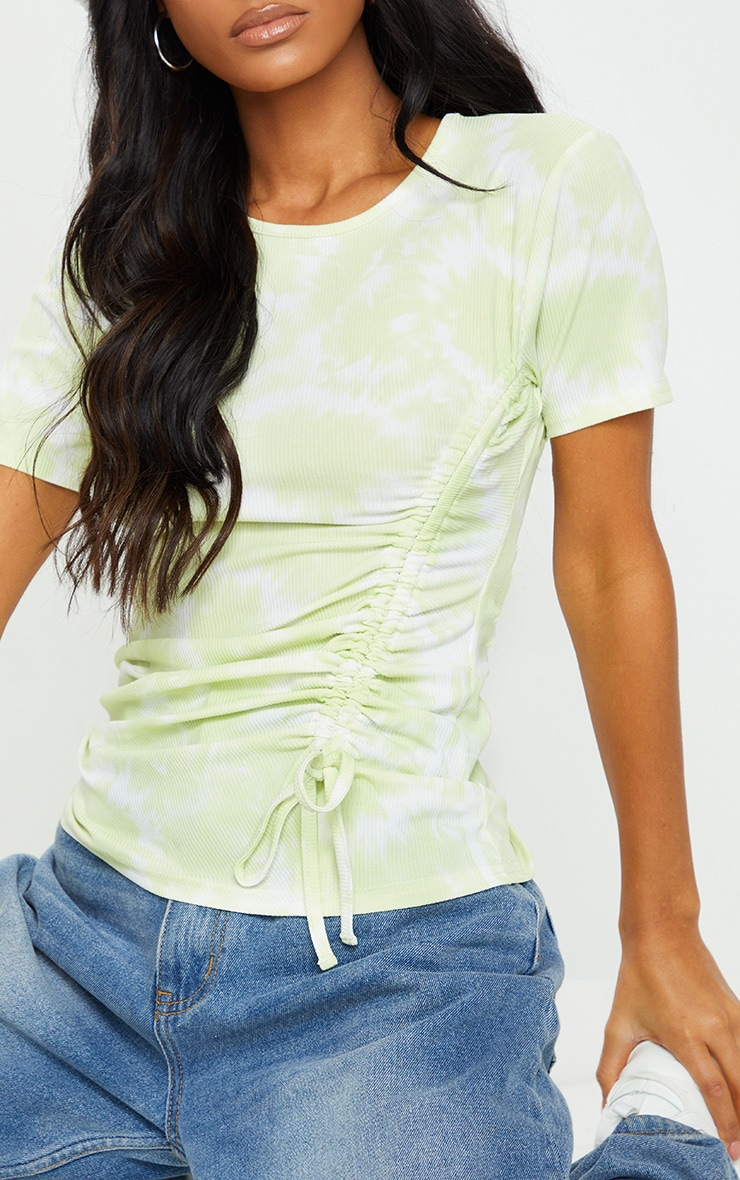 Lime Green Acid Wash Rib Ruched Side T Shirt 4