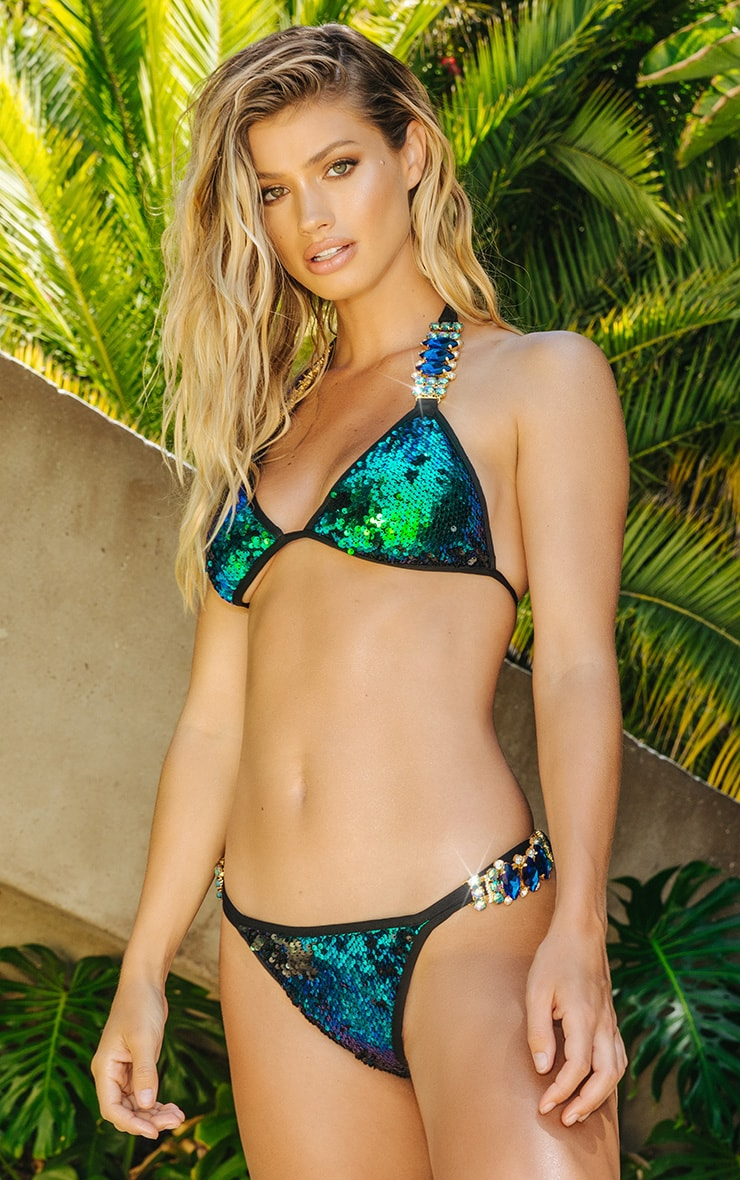 Premium Green Jewel Trim Sequin Pool Party Bottom