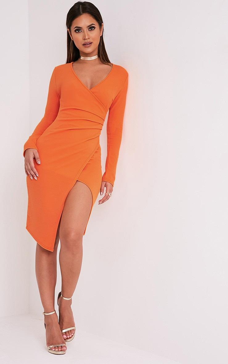 Rosie Orange Long Sleeve Wrap Front Midi Dress 5