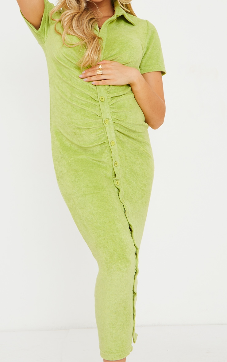 Maternity Sage Green Ruched Bump Midi Shirt Dress 4
