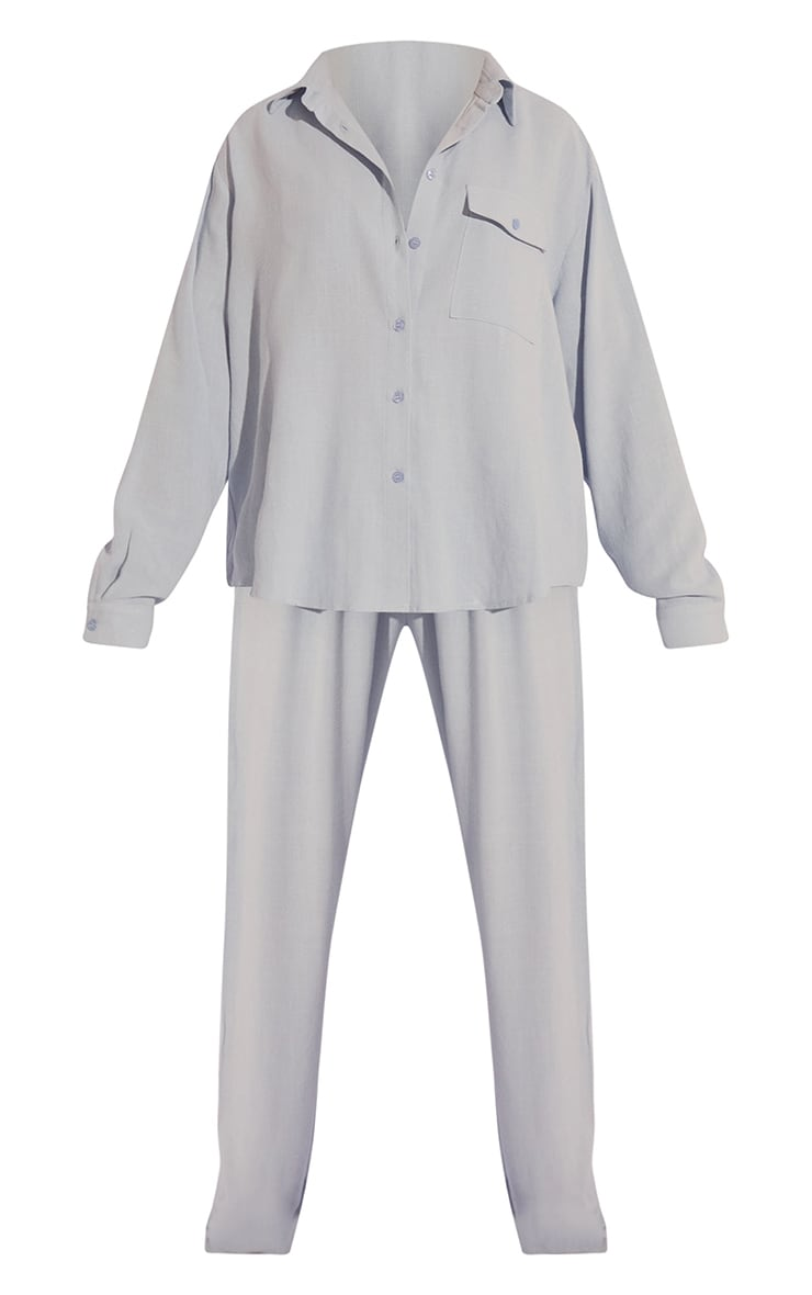 Baby Blue Oversized Long Sleeve Shirt With Pocket And Wide Leg Pants Pj Set 5