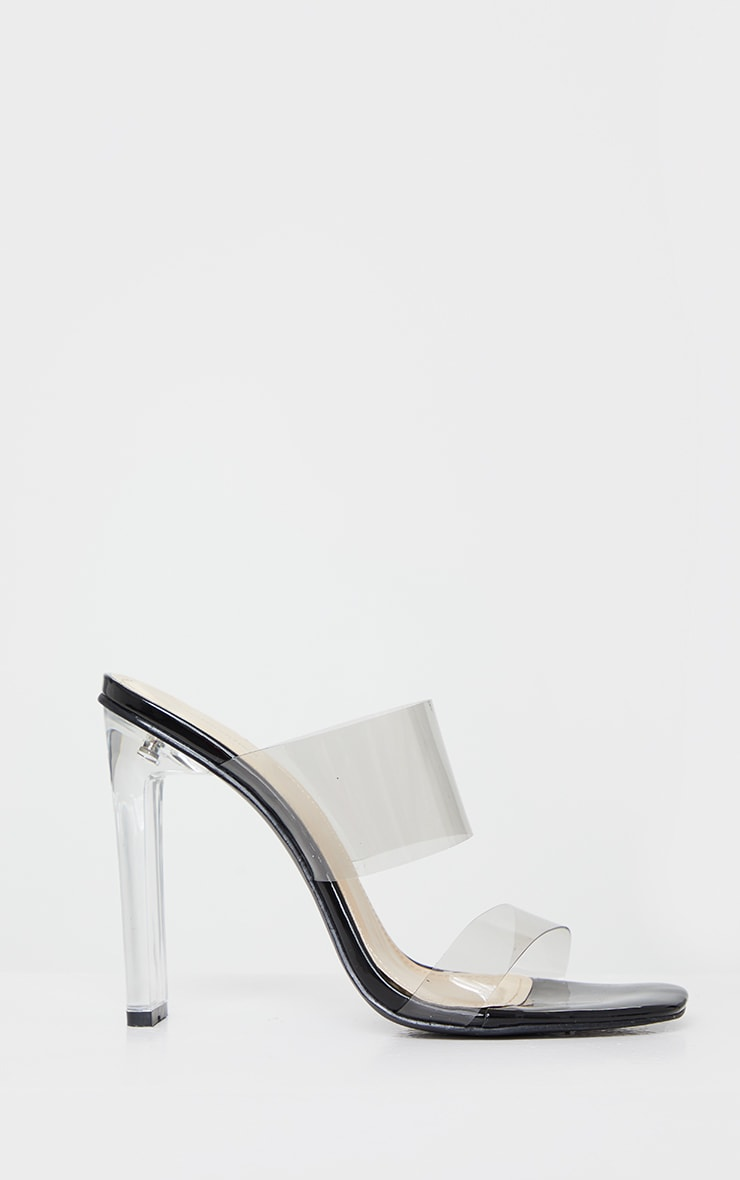 Black Tinted Clear Twin Strap Mule Heels 3
