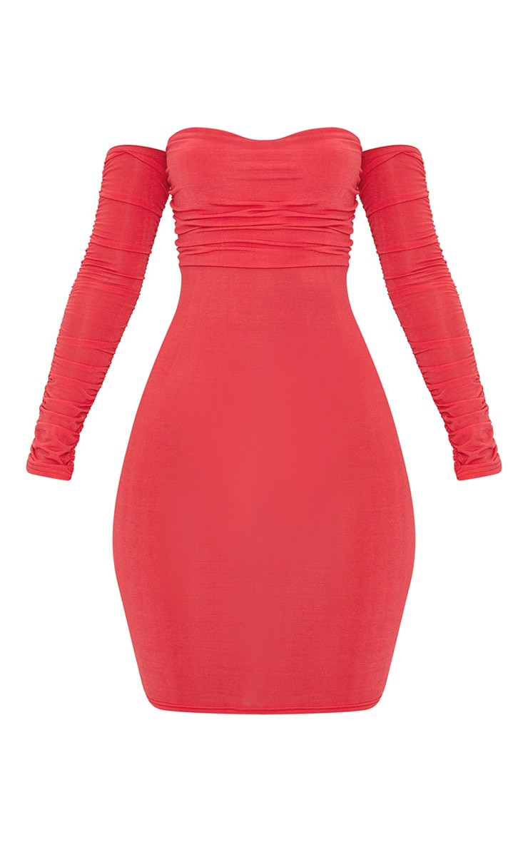 Red Ruched Front Ruched Arm Bardot Bodycon Dress 3