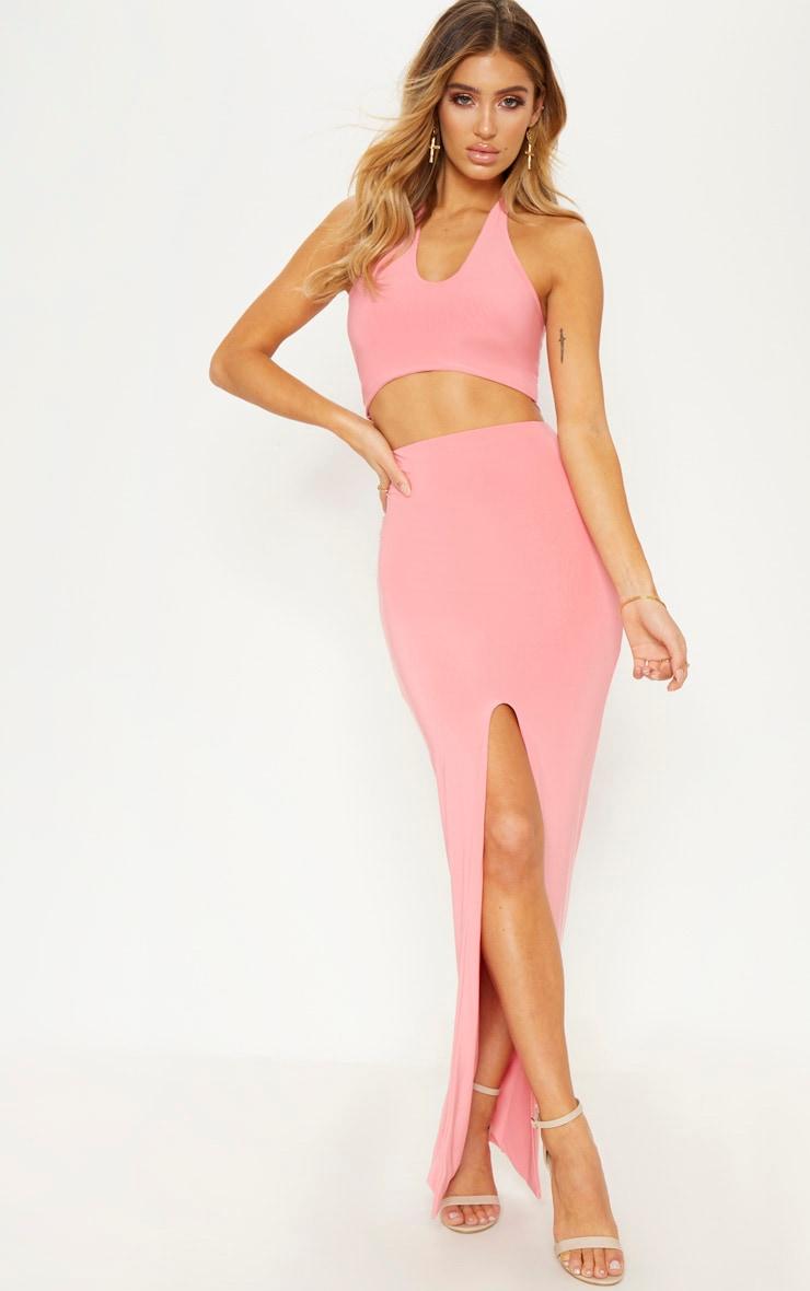 Coral Slinky Split Midaxi Skirt