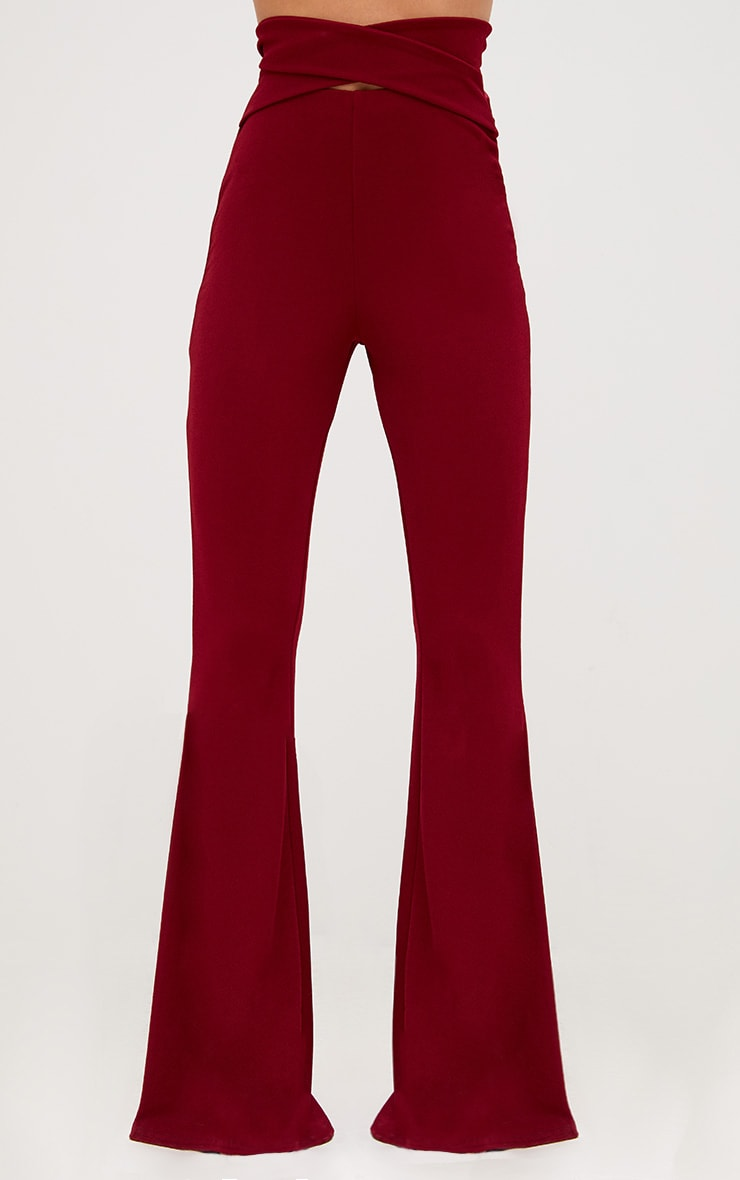 Burgundy Strappy Waist Flared Trousers 2