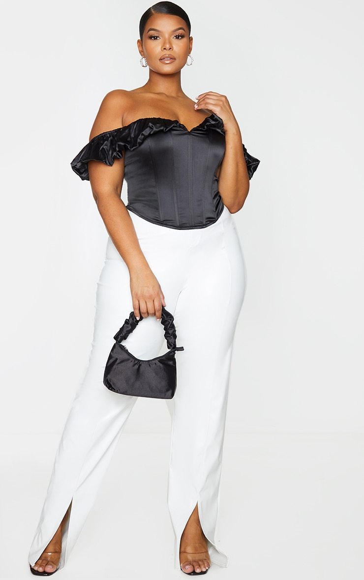 Plus Black Structured Satin Bardot Corset 1
