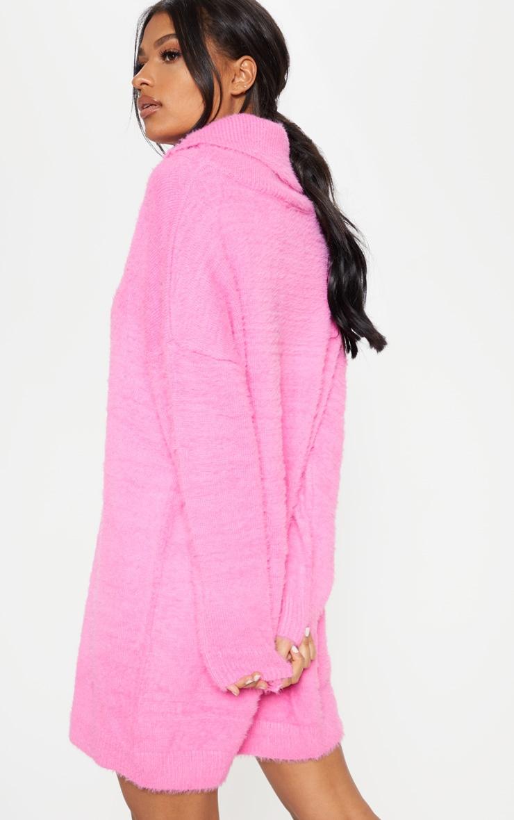 Pink Knitted High Neck Jumper Dress  2