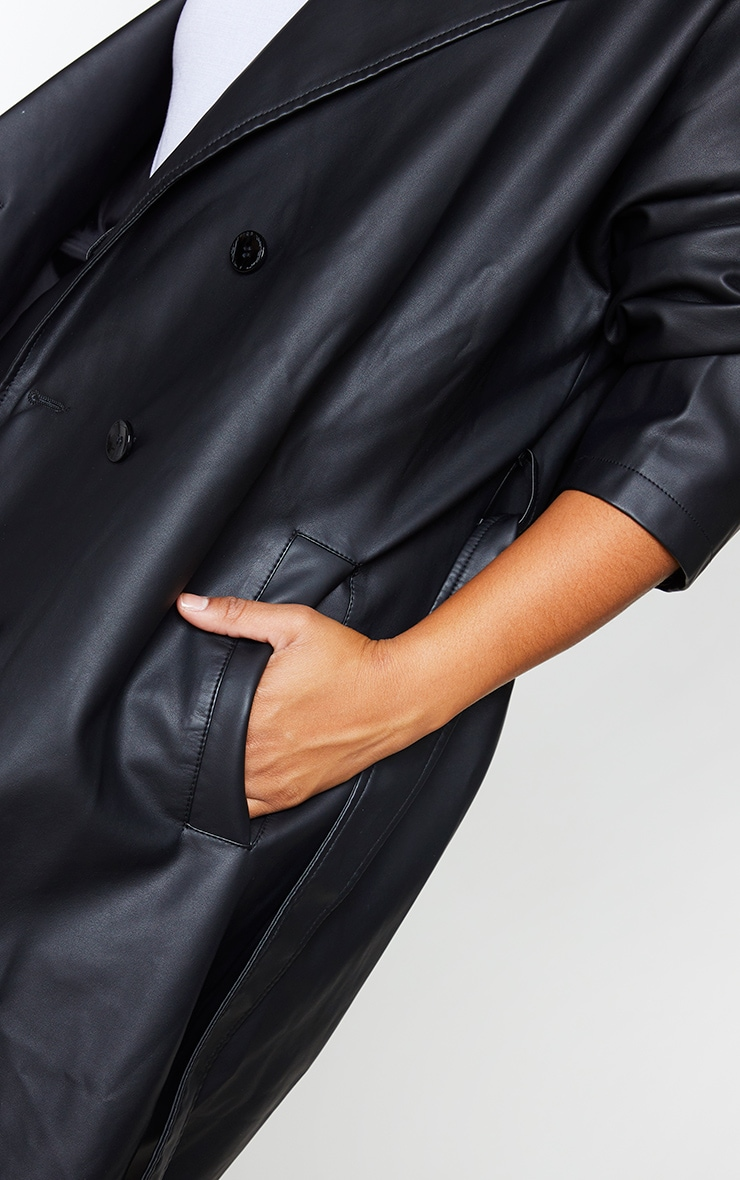 Plus Black Faux Leather Drop Arm Midi Trench 4