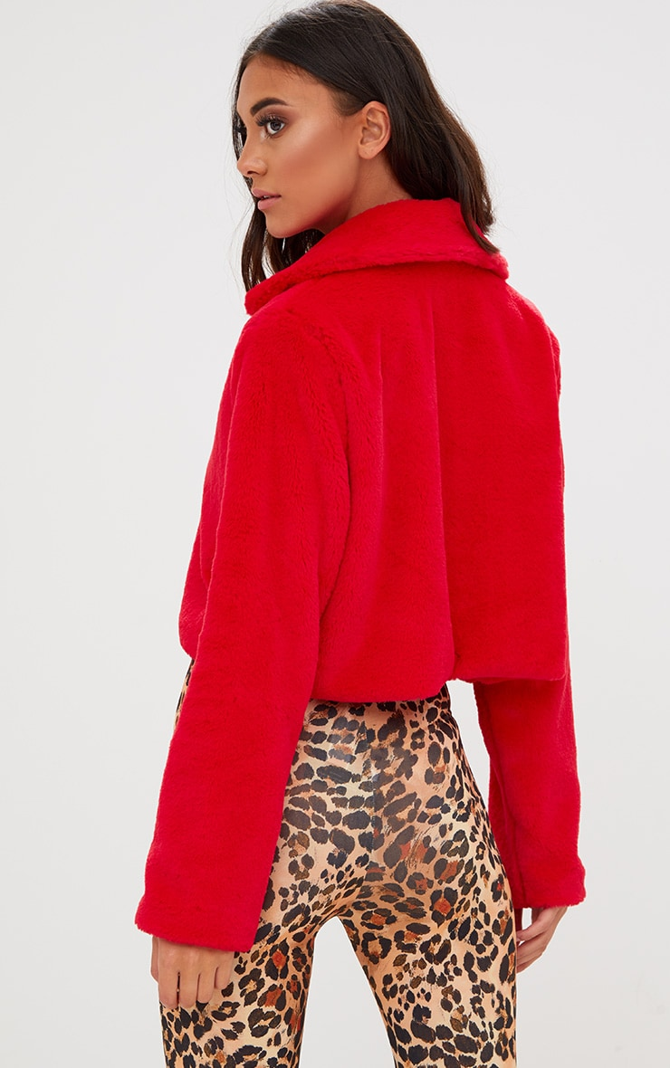 Red Cropped Faux Fur Coat 2