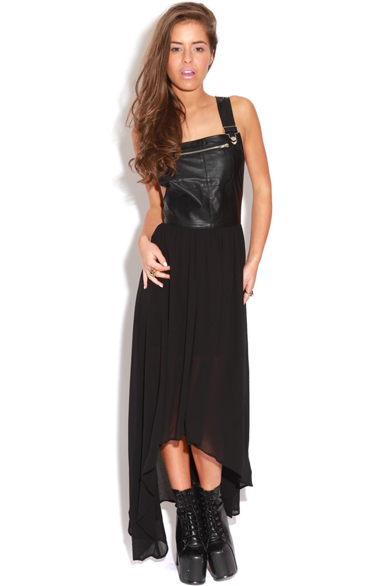 Lybah Black PU Dungaree Chiffon Dress 3