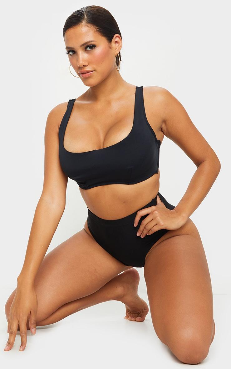 Black Fuller Bust Scoop Neck Bikini Top 3