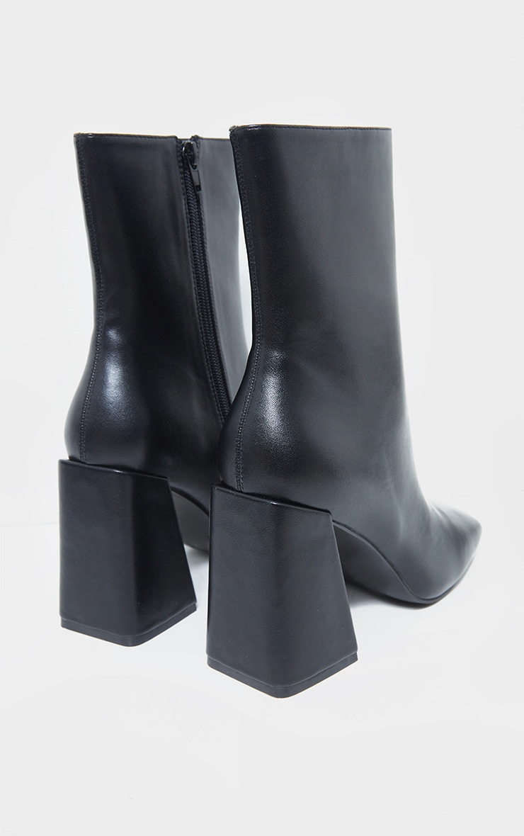 Black Pu High Flare Block Heeled Boots 4