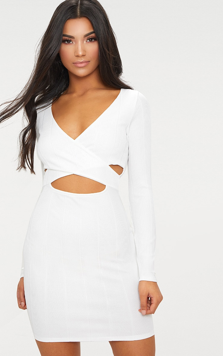 White Bandage Cross Front Cut Out Detail Bodycon Dress 1