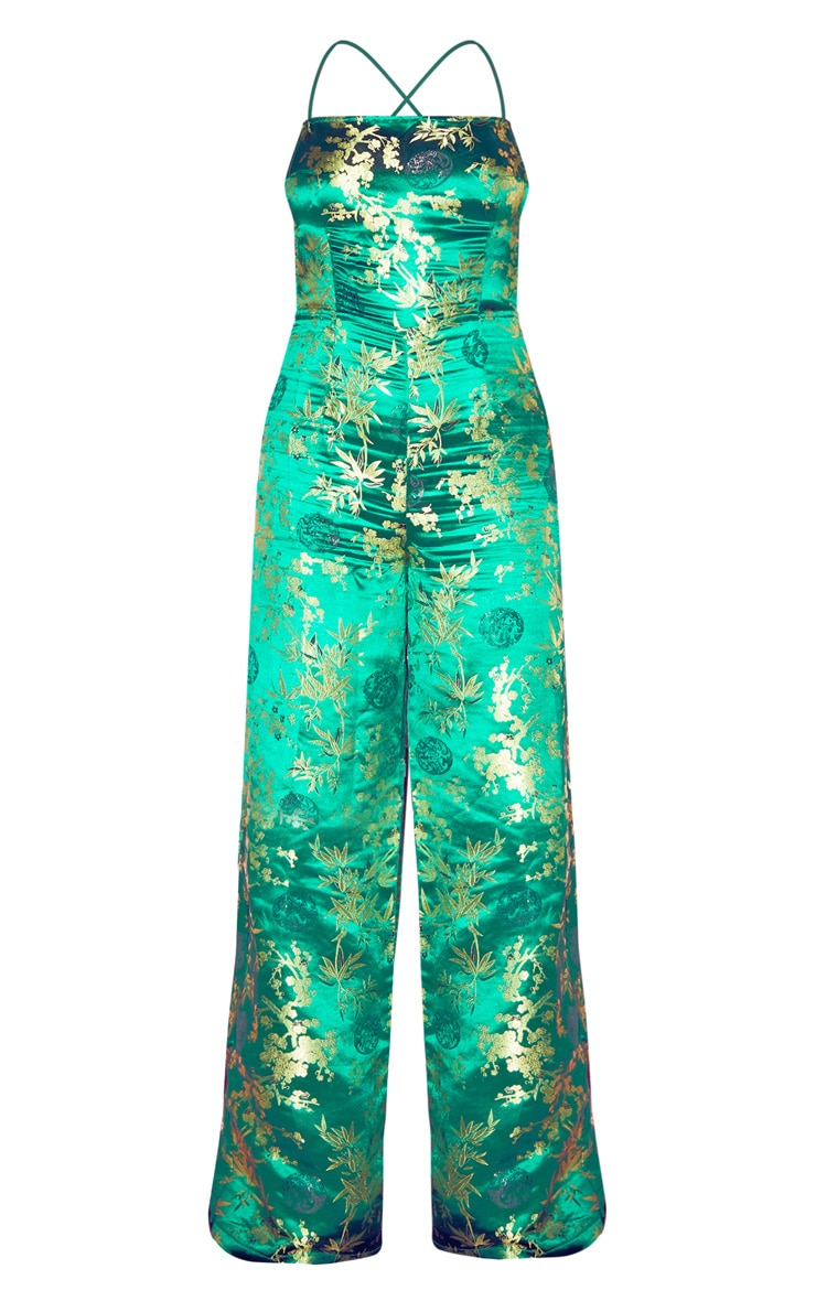 Emerald Green Oriental Satin Lace Up Back Jumpsuit 3