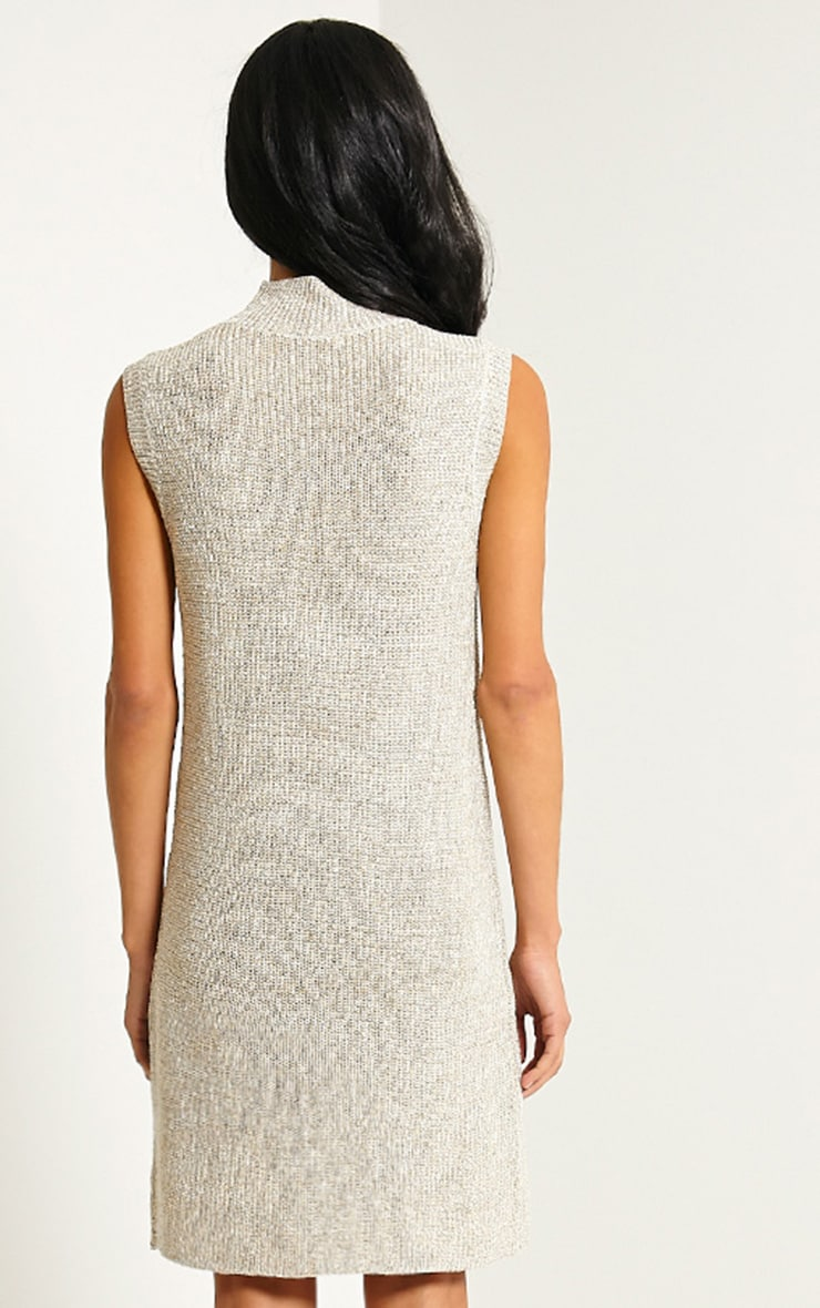 Zedanya Beige Metallic Knitted Dress 2