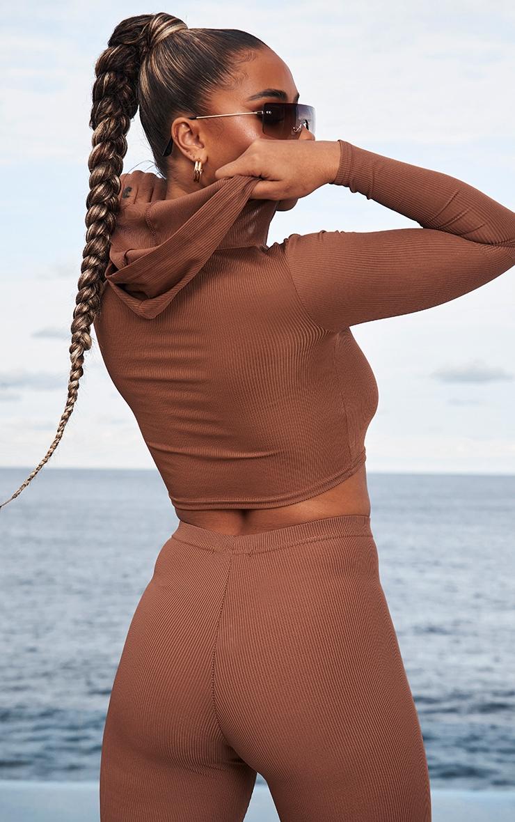 Chocolate Brown Rib Crop Long Sleeved Hoodie 2