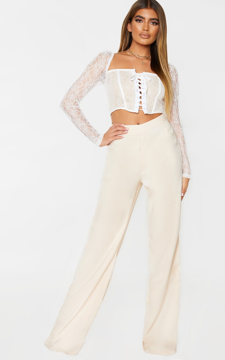 White Lace Curved Hem Lace Up Long Sleeve Top 3
