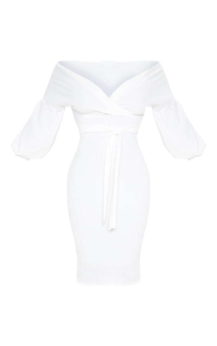Robe cache-coeur mi-longue blanche à manches ballon 3