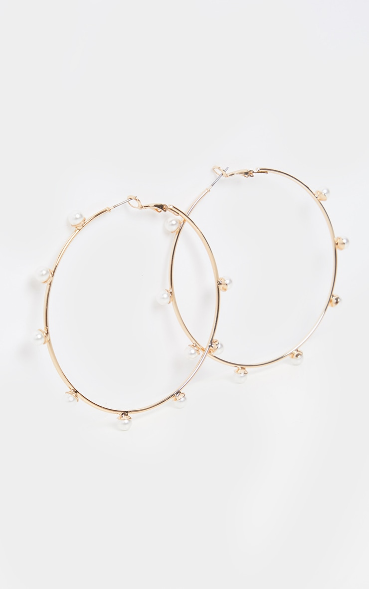 Gold Pearl Studded Hoop Earrings 2