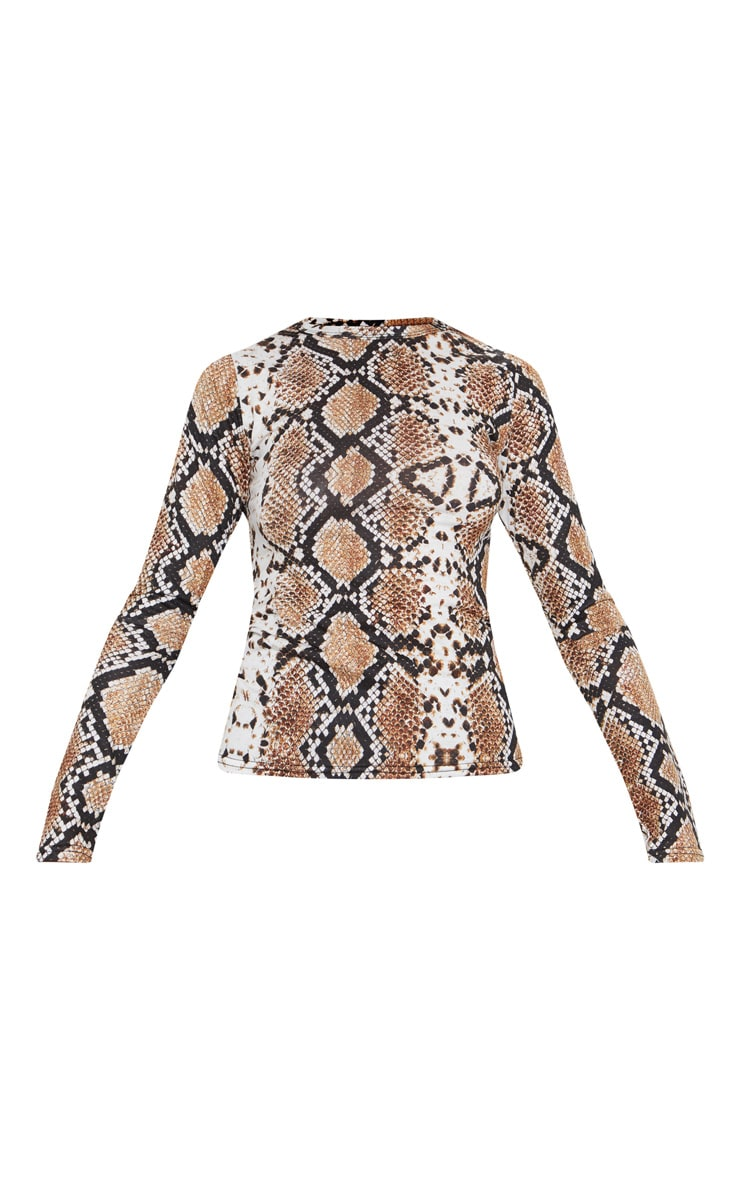 Grey Snake Print Fitted Long Sleeve Top 2