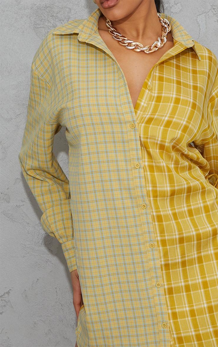 Yellow Contrast Check Panel Oversized Shirt Dress 4