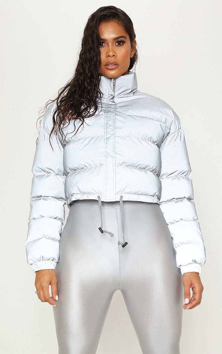 Grey Reflective Puffer Jacket  by Prettylittlething