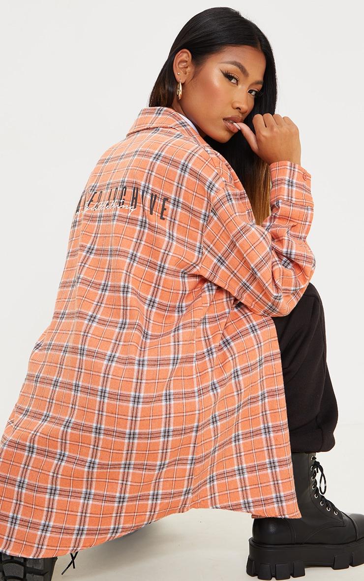 PRETTYLITTLETHING Orange Back Print Checked Oversized Shirt 1
