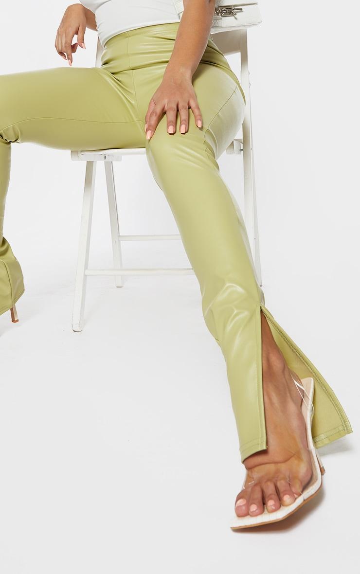 Shape Lime PU Split Hem Pants 4
