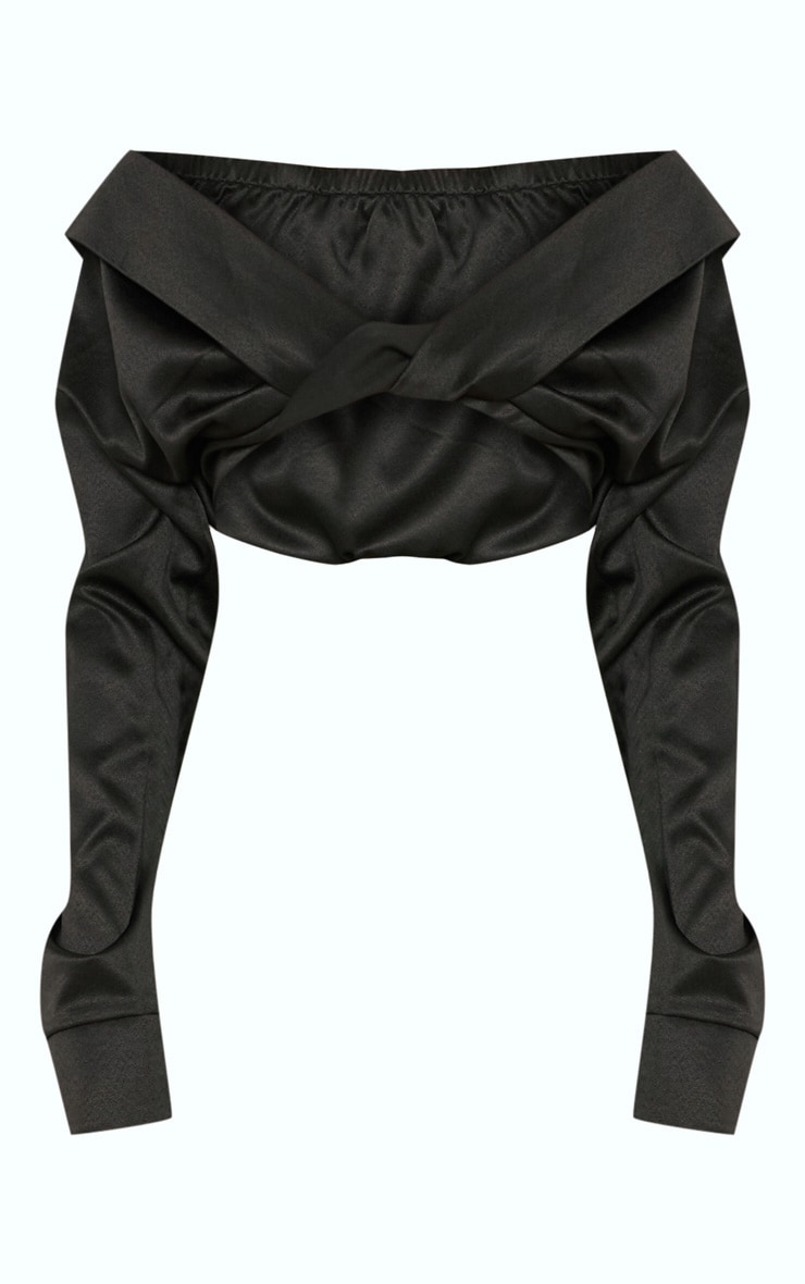 Black Bardot Twist Front Crop Blouse 3