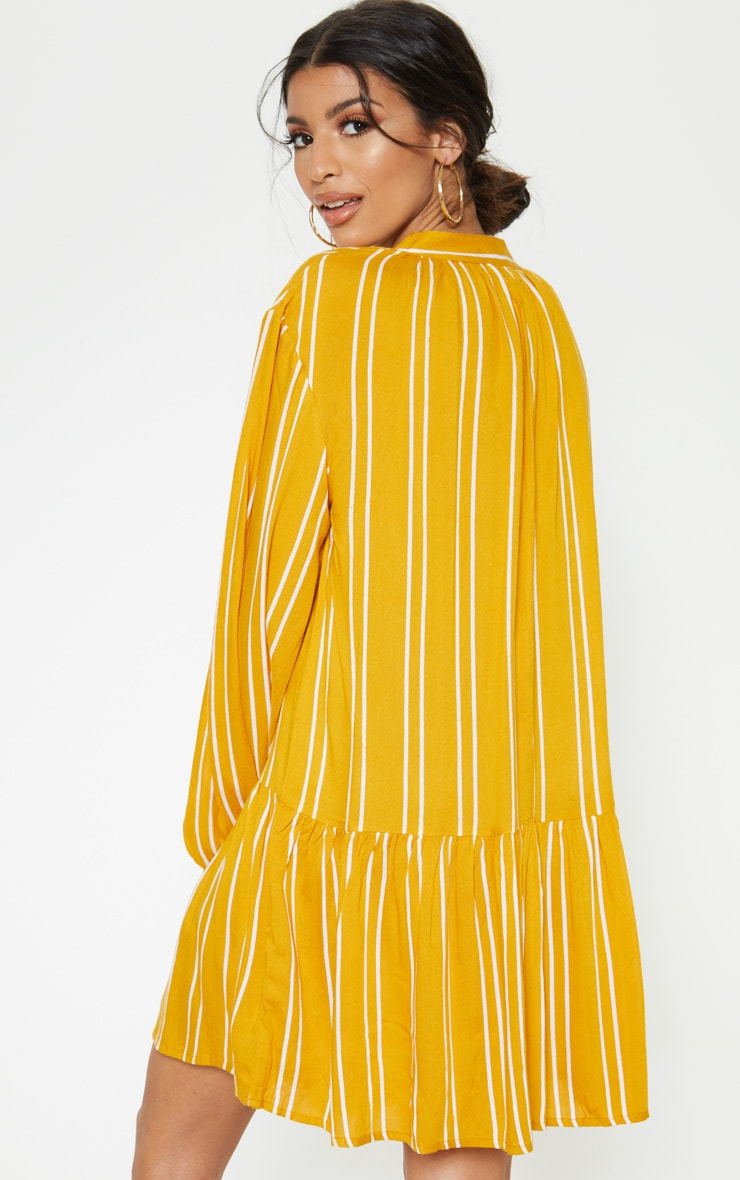 Mustard Stripe Tie Neck Frill Smock Dress 2