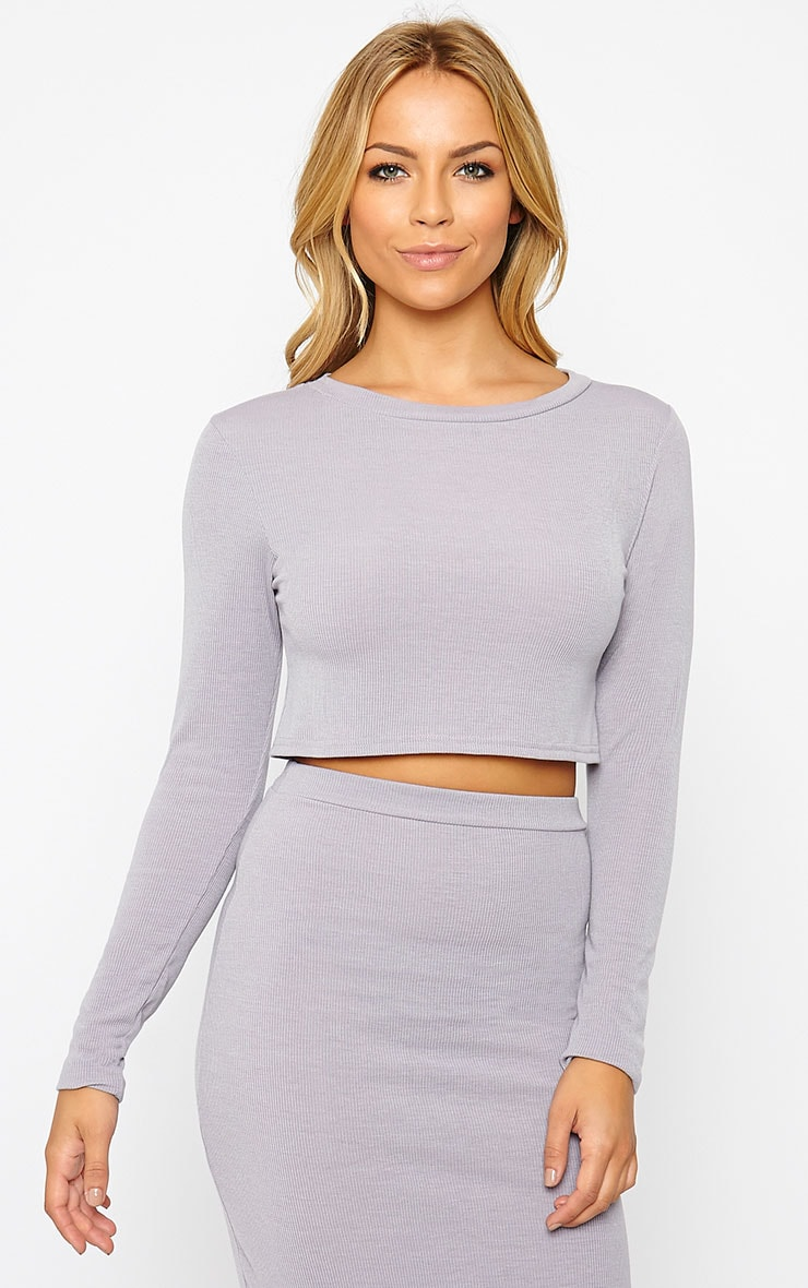 Basic Grey Long Sleeve Premium Ribbed Crop Top 1