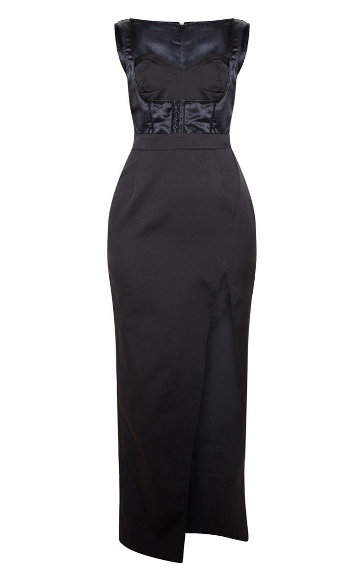 Black Corset Detail Sleeveless Maxi Dress 3