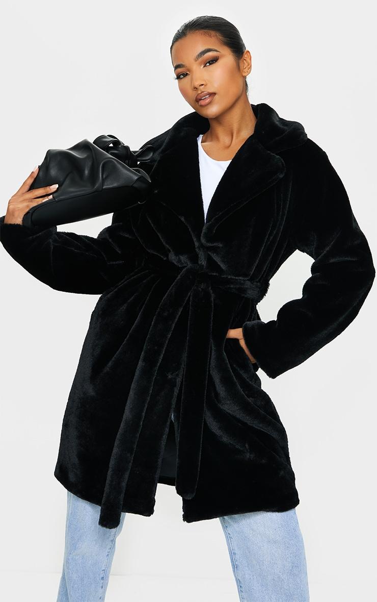 Black Soft Faux Fur Belted Midi Coat 1