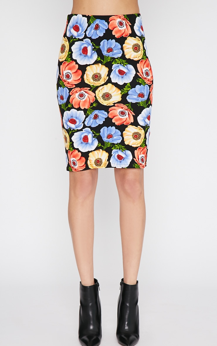 Jennie Multi Print Poppy Midi Skirt -S/M 4